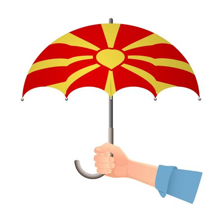 Macedonia flag umbrella. Weather symbols. National flag of Macedonia vector illustration Иллюстрация