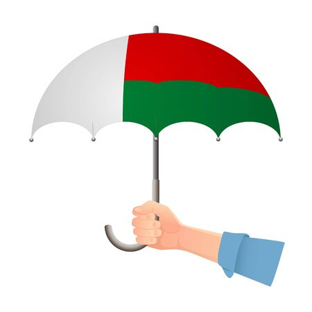 Madagascar flag umbrella. Weather symbols. National flag of Madagascar vector illustration