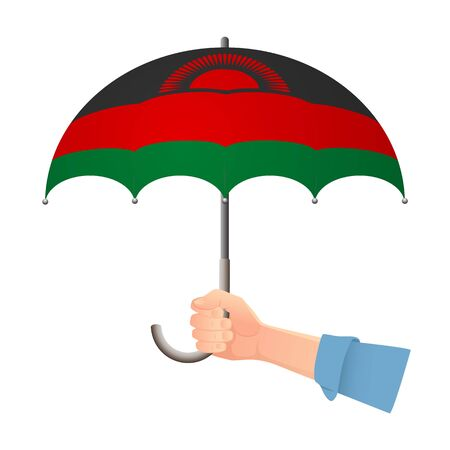Malawi flag umbrella. Weather symbols. National flag of Malawi vector illustration