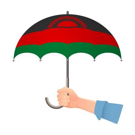 Malawi flag umbrella. Weather symbols. National flag of Malawi vector illustration