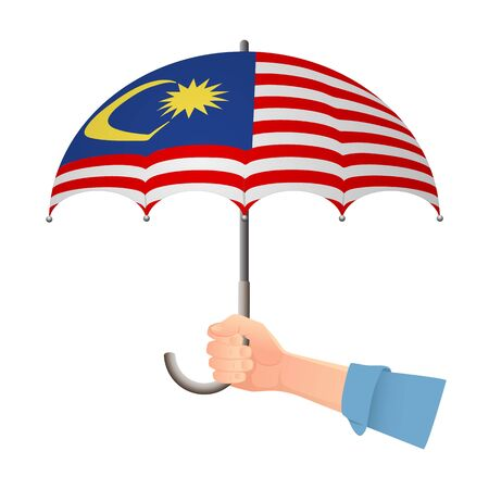 Malaysia flag umbrella. Weather symbols. National flag of Malaysia vector illustration