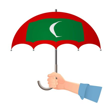 Maldives flag umbrella. Weather symbols. National flag of Maldives vector illustration