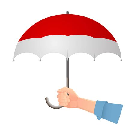 Monaco flag umbrella. Weather symbols. National flag of Monaco vector illustration
