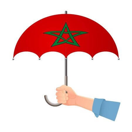 Morocco flag umbrella. Weather symbols. National flag of Morocco vector illustration Иллюстрация