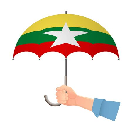 Myanmar flag umbrella. Weather symbols. National flag of Myanmar vector illustration  イラスト・ベクター素材