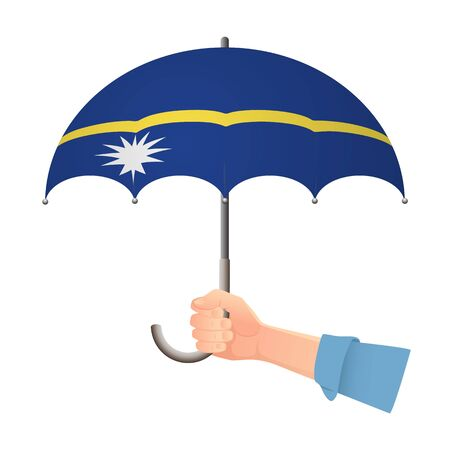 Nauru flag umbrella. Weather symbols. National flag of Nauru vector illustration