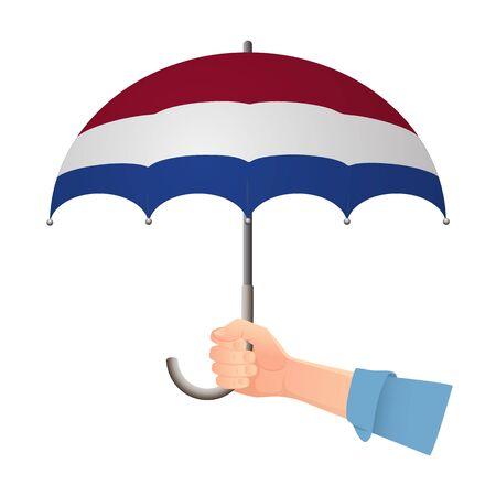 Netherlands flag umbrella. Weather symbols. National flag of Netherlands vector illustration Illustration