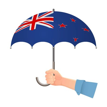 New Zealand flag umbrella. Weather symbols. National flag of New Zealand vector illustration