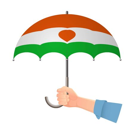 Niger flag umbrella. Weather symbols. National flag of Niger vector illustration Иллюстрация