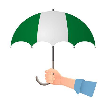 Nigeria flag umbrella. Weather symbols. National flag of Nigeria vector illustration