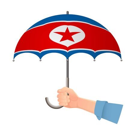 North Korea flag umbrella. Weather symbols. National flag of North Korea vector illustration