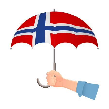 Norway flag umbrella. Weather symbols. National flag of Norway vector illustration