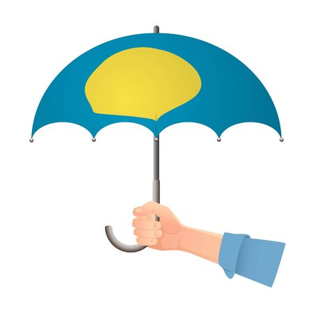 Palau flag umbrella. Weather symbols. National flag of Palau vector illustration