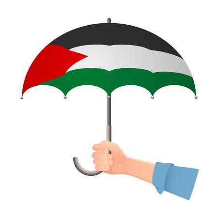 Palestine flag umbrella. Weather symbols. National flag of Palestine vector illustration