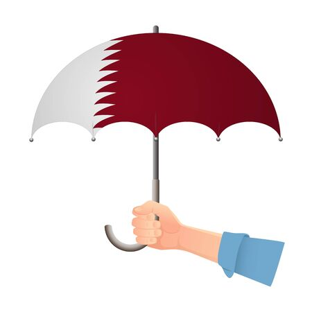 Qatar flag umbrella. Weather symbols. National flag of Qatar vector illustration