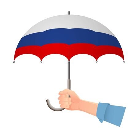 Russia flag umbrella. Weather symbols. National flag of Russia vector illustration Illustration