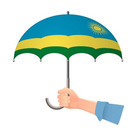 Rwanda flag umbrella. Weather symbols. National flag of Rwanda vector illustration