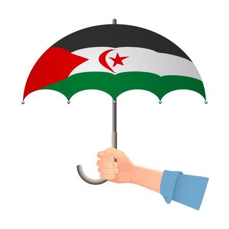 Sahrawi Arab Democratic Republic flag umbrella. Weather symbols. National flag of Sahrawi Arab Democratic Republic vector illustration Illustration
