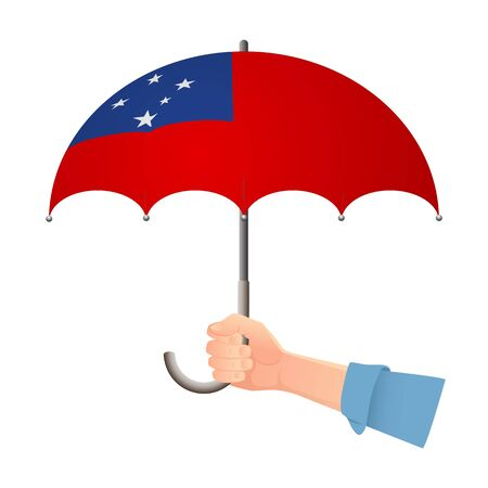 Samoa flag umbrella. Weather symbols. National flag of Samoa vector illustration