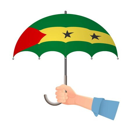 Sao Tome and Principe flag umbrella. Weather symbols. National flag of Sao Tome and Principe vector illustration