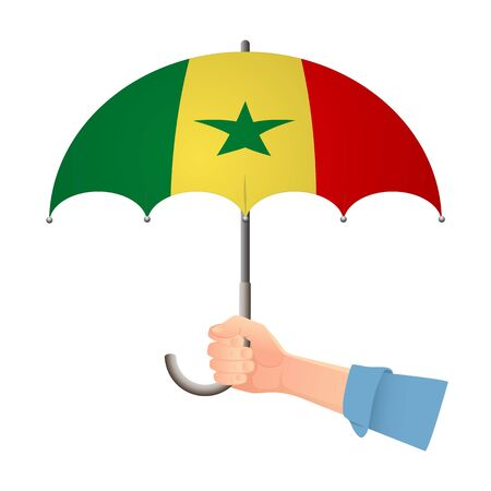 Senegal flag umbrella. Weather symbols. National flag of Senegal vector illustration