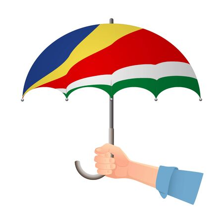 Seychelles flag umbrella. Weather symbols. National flag of Seychelles vector illustration