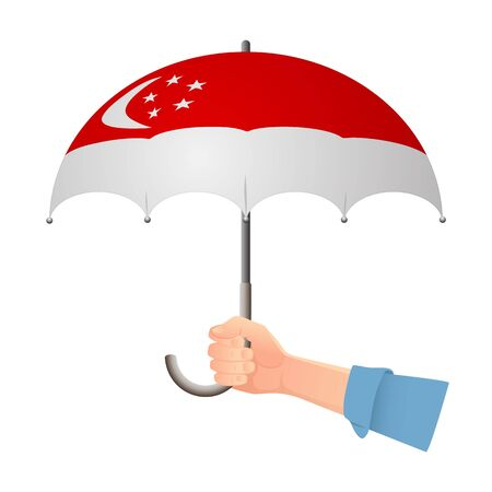 Singapore flag umbrella. Weather symbols. National flag of Singapore vector illustration