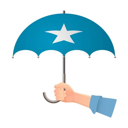 Somalia flag umbrella. Weather symbols. National flag of Somalia vector illustration