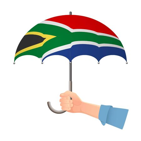 South Africa flag umbrella. Weather symbols. National flag of South Africa vector illustration