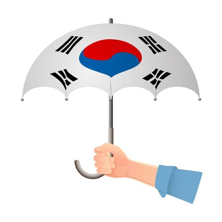 South korea flag umbrella. Weather symbols. National flag of South korea vector illustration