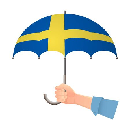 Sweden flag umbrella. Weather symbols. National flag of Sweden vector illustration
