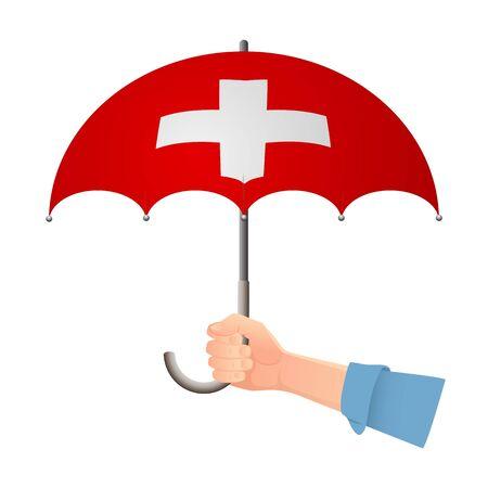 Switzerland flag umbrella. Weather symbols. National flag of Switzerland vector illustration
