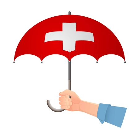 Switzerland flag umbrella. Weather symbols. National flag of Switzerland vector illustration