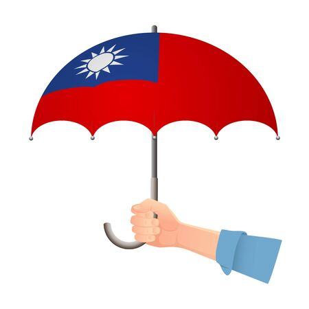 Taiwan flag umbrella. Weather symbols. National flag of Taiwan vector illustration Иллюстрация