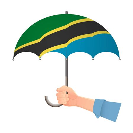 Tanzania flag umbrella. Weather symbols. National flag of Tanzania vector illustration Иллюстрация