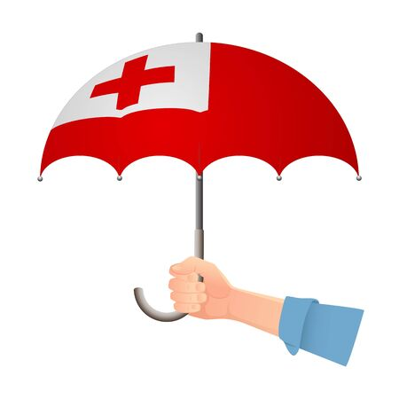 Tonga flag umbrella. Weather symbols. National flag of Tonga vector illustration