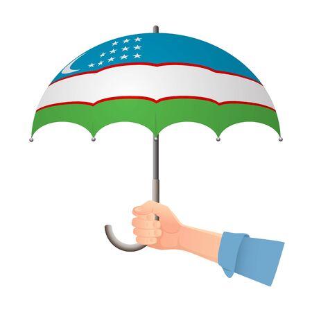 Uzbekistan flag umbrella. Weather symbols. National flag of Uzbekistan vector illustration