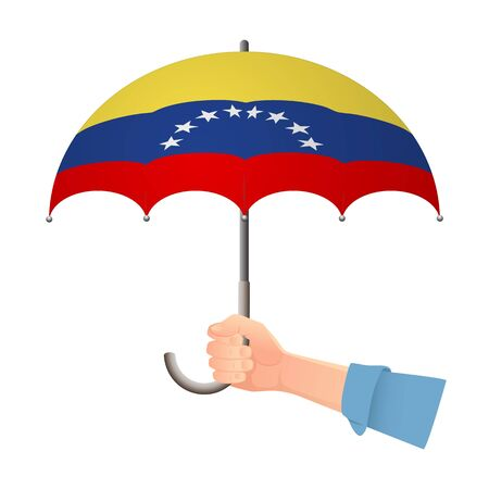 Venezuela flag umbrella. Weather symbols. National flag of Venezuela vector illustration