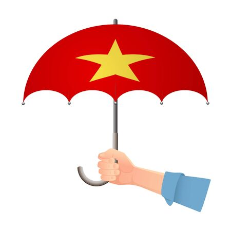 Vietnam flag umbrella. Weather symbols. National flag of Vietnam vector illustration
