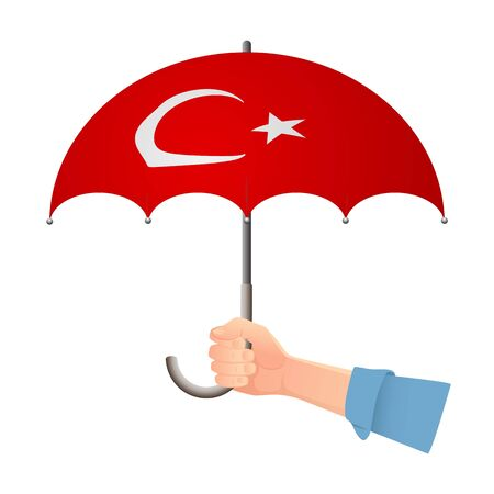 Turkey flag umbrella. Weather symbols. National flag of Turkey vector illustration Иллюстрация