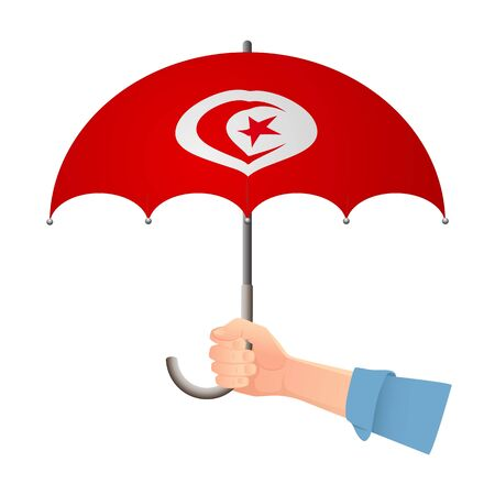 Tunisia flag umbrella. Weather symbols. National flag of Tunisia vector illustration Иллюстрация