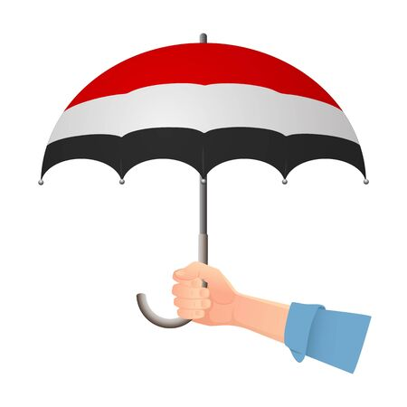 Yemen flag umbrella. Weather symbols. National flag of Yemen vector illustration