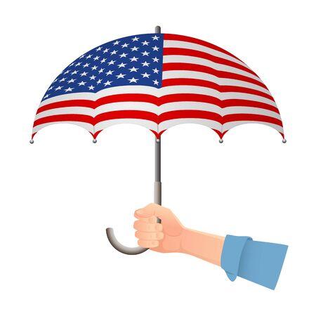 United States of America flag umbrella. Weather symbols. National flag of United States of America vector illustration Illustration
