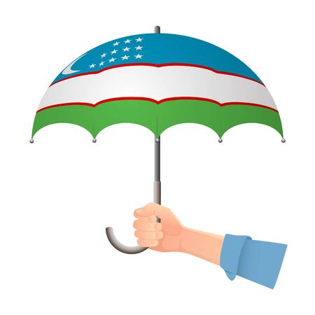 Uzbekistan flag umbrella. Weather symbols. National flag of Uzbekistan vector illustration