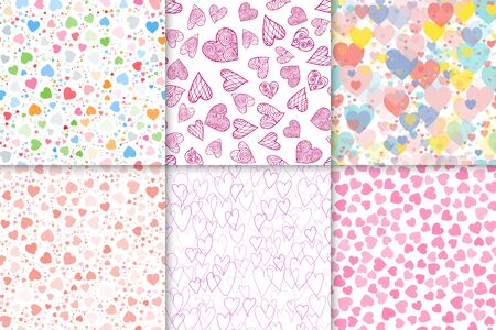 Valentines day hearts illustration set. Pattern of hearts. Seamless background