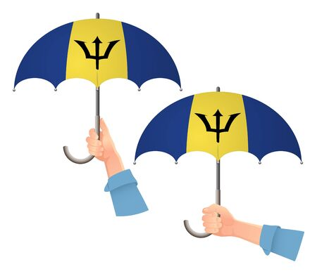Barbados flag umbrella. Social security concept. National flag of Barbados vector illustration