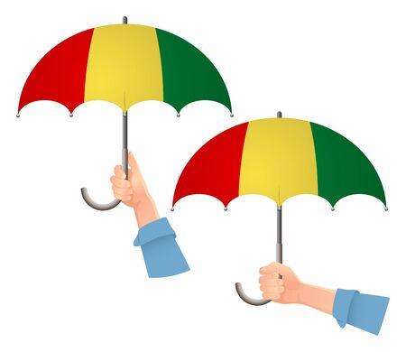 Guinea flag umbrella. Social security concept. National flag of Guinea vector illustration