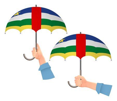 Central African Republic flag umbrella. Social security concept. National flag of Central African Republic vector illustration