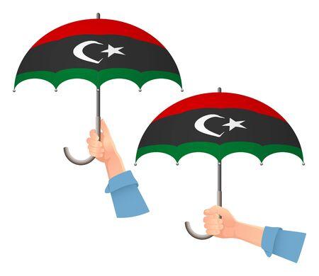 libya flag umbrella. Social security concept. National flag of libya vector illustration