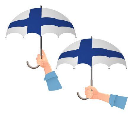 Finland flag umbrella. Social security concept. National flag of Finland vector illustration Ilustracja